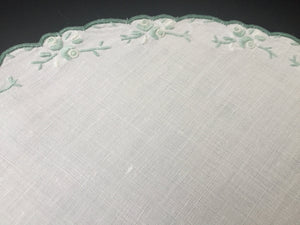 Vintage Embroidered Linen Doily with Green Flowers and Scalloped Edge