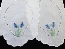 Load image into Gallery viewer, Pair of Vintage Machine Embroidered Linen Doilies for Craft