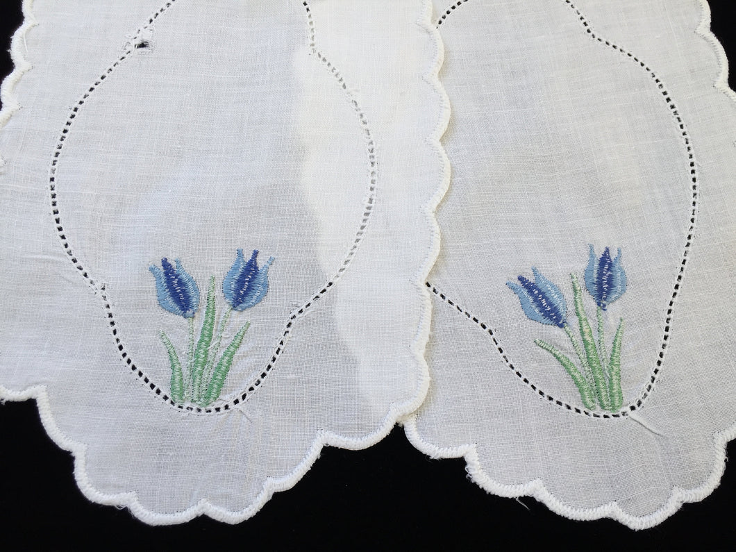 Pair of Vintage Machine Embroidered Linen Doilies for Craft