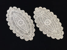 Load image into Gallery viewer, A Set of 2 Vintage Oval Crocheted Ecru/Beige Cotton Lace Doilies