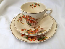 Load image into Gallery viewer, J & G Meakin Sunshine Floral Sunrise Pattern 3 Piece Demitasse Set Ivory, Brown, Orange and Gold Colour