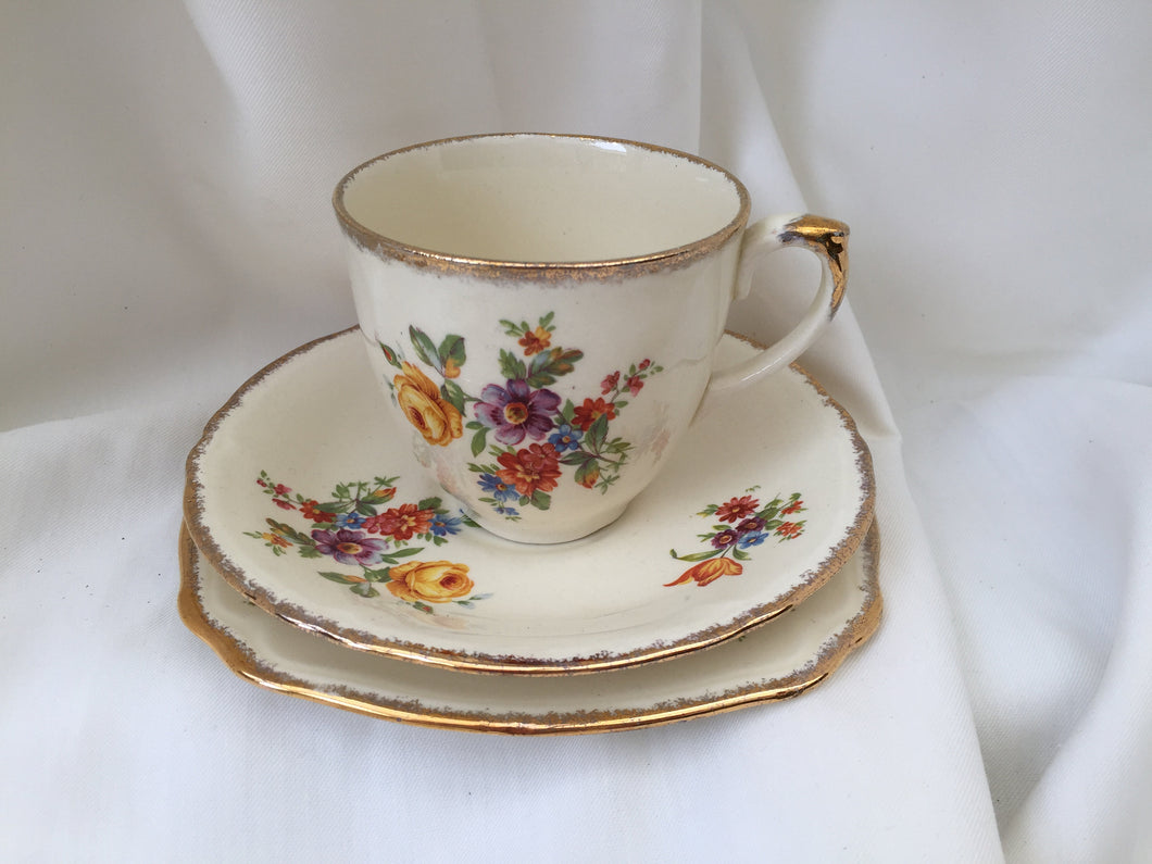 Vintage Creampetal Grindley 3 Piece Demitasse Set Made in England with Dresden Flowers VCH0456