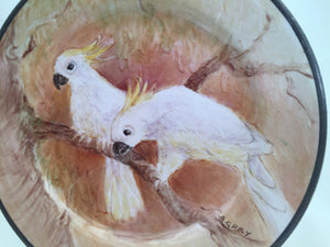 Vintage Decorative Plate with a Pair of Sulphur Crested Cockatoos