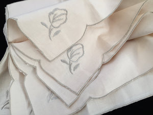 Linen Napkins. A Set of 6 Unused Vintage Ivory/Ecru Embroidered Cotton Linen Napkins