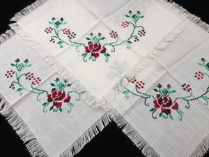 Set of 3 Vintage Embroidered Table Mats with Red Roses