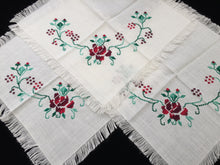 Load image into Gallery viewer, Set of 3 Vintage Embroidered Table Mats with Red Roses