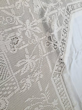 Load image into Gallery viewer, Mary Card Crochet Lace and Irish Linen Vintage Tablecloth in Trellis Design No. 89
