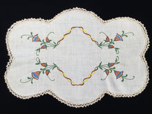 Load image into Gallery viewer, Large Vintage Oblong Embroidered Doily or Table Centre Mat with Ecru/Ivory Crocheted Edging