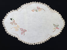 Load image into Gallery viewer, Large Vintage Oval Embroidered Doily for Craft with Leaf Pattern on Off-White Linen with Beige Crocheted Edging