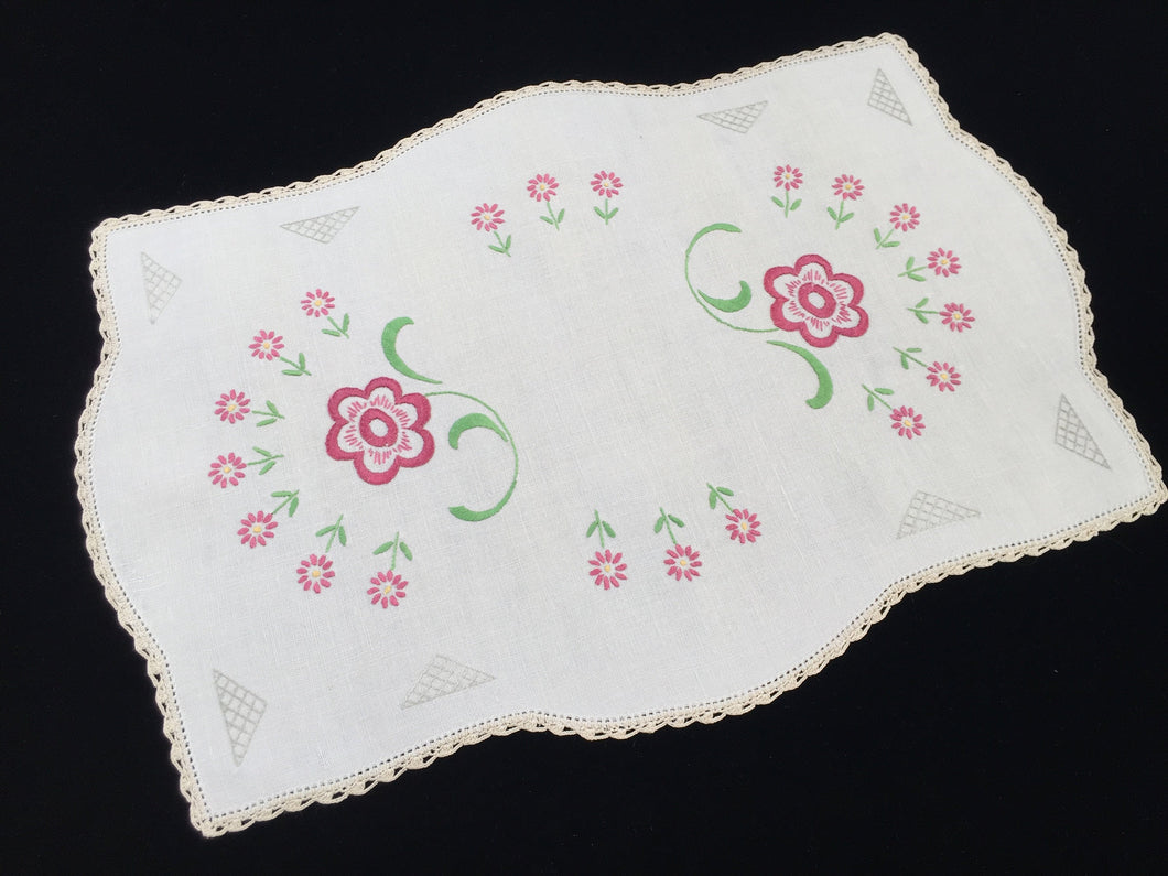 Large Vintage Embroidered Doily with Floral Pattern on Off-White Linen and Ivory Crocheted Edging