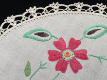 Load image into Gallery viewer, Australian 1930s Vintage Hand Embroidered Off-white Linen Doily with Red Flowers and a Crochet Lace Edge