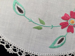 Australian 1930s Vintage Hand Embroidered Off-white Linen Doily with Red Flowers and a Crochet Lace Edge