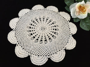 Round Ecru (Light Brown) Vintage Crocheted Cotton Lace Doily