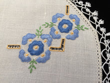 Load image into Gallery viewer, Vintage Hand Embroidered Off-white Linen Doily with Blue Flowers and a Tatted Lace Edge