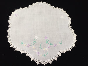 Vintage Hand Embroidered White Linen Doily with Crocheted Lace Edge