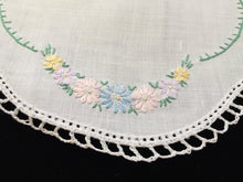 Load image into Gallery viewer, Vintage Hand Embroidered White Linen Doily with Crocheted Edge