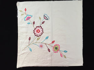 Machine Embroidered Linen Panel for Cushion, Quilt Making or Other Craft Projects