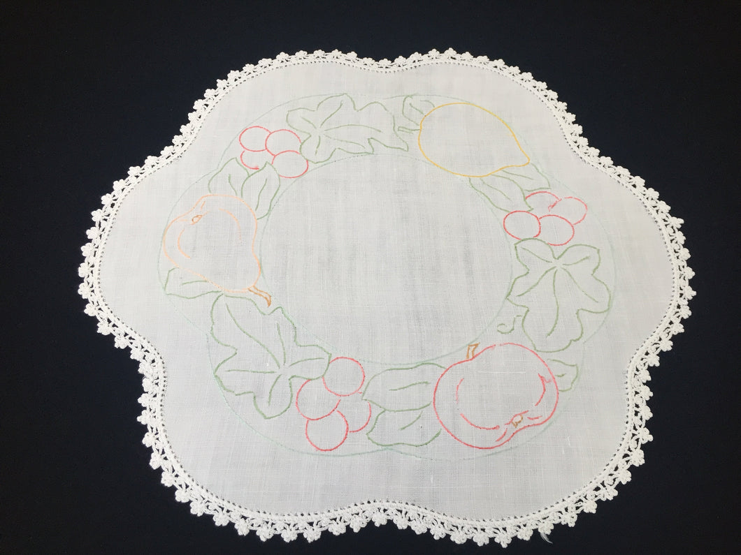 Vintage Embroidered White Linen Doily with Crocheted Edging