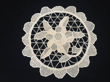 Load image into Gallery viewer, Vintage Doily. Ecru Point de Venise Style Handmade Needle Lace Doily