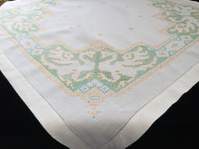 Load image into Gallery viewer, Vintage Hand Embroidered Linen Tablecloth with Cross Stitch Phoenix Pattern