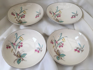 A Set of 4 Vintage Johnson Brothers Oval Dessert or Compote Bowls