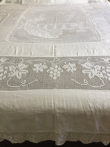 "Vintage Lace and Linen Bed Cover with Mary Card Designed Filet Crochet Inlay ""Peacock and Grapevine"""