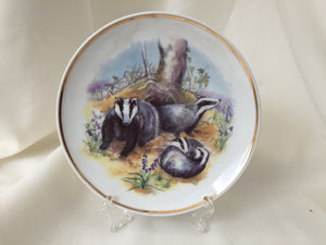 "Wildlife of Britain Decorative Plate ""Badgers"" Designed by Susan Beresford"