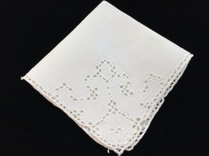 Hand Embroidered Off-White Irish Linen Handkerchief or Napkin