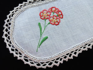 Vintage Hand Embroidered Off-white Linen Sandwich Doily with Orange Flowers and Ecru Crocheted Edge