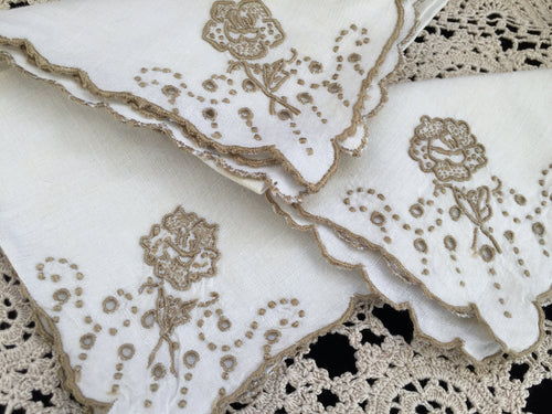 A Set of 3 Antique Hand Embroidered Broderie Anglaise Off-white and Taupe Linen Napkins with Scalloped Edging