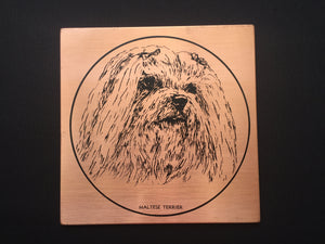 "Vintage Copper ""Maltese Terrier"" Dog Portrait Retro Wall Decor"