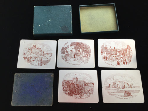 Vintage Boxed Set of 6 Anodised Aluminium Tumbler Coasters by Winchester Art Products England