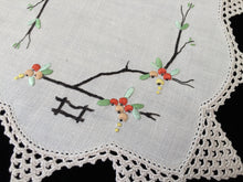 Load image into Gallery viewer, Vintage Hand Embroidered Off-white Doily with an Ivory Crocheted Lace Edging