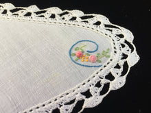 Load image into Gallery viewer, Small 1930s Vintage Hand Embroidered White Linen Irregular Shaped Doily with Flower Bouquet and a Crochet Lace Trim Edging