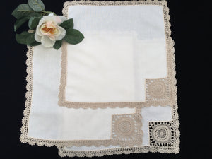 A Set of 3 Vintage Cotton Linen Napkins with Ecru Crochet Lace Corners and Edging