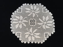 Load image into Gallery viewer, Vintage Poinsettia Christmas Flowers Ivory Coloured Filet Crochet Lace Doily