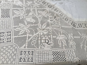 Mary Card Crochet Lace and Irish Linen Vintage Tablecloth in Trellis Design No. 89