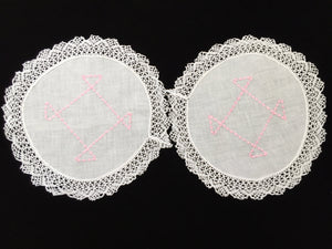 Vintage Machine Embroidered Linen White and Pink Doilies with a Lace Trim Edge