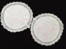 Load image into Gallery viewer, Vintage Machine Embroidered Linen White and Pink Doilies with a Lace Trim Edge
