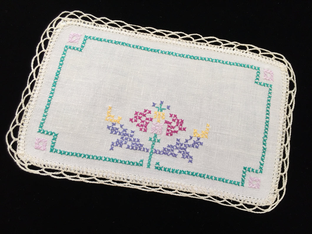 Vintage Cross Stitch Embroidered Off-white Linen Doily with Beige Crocheted Edging