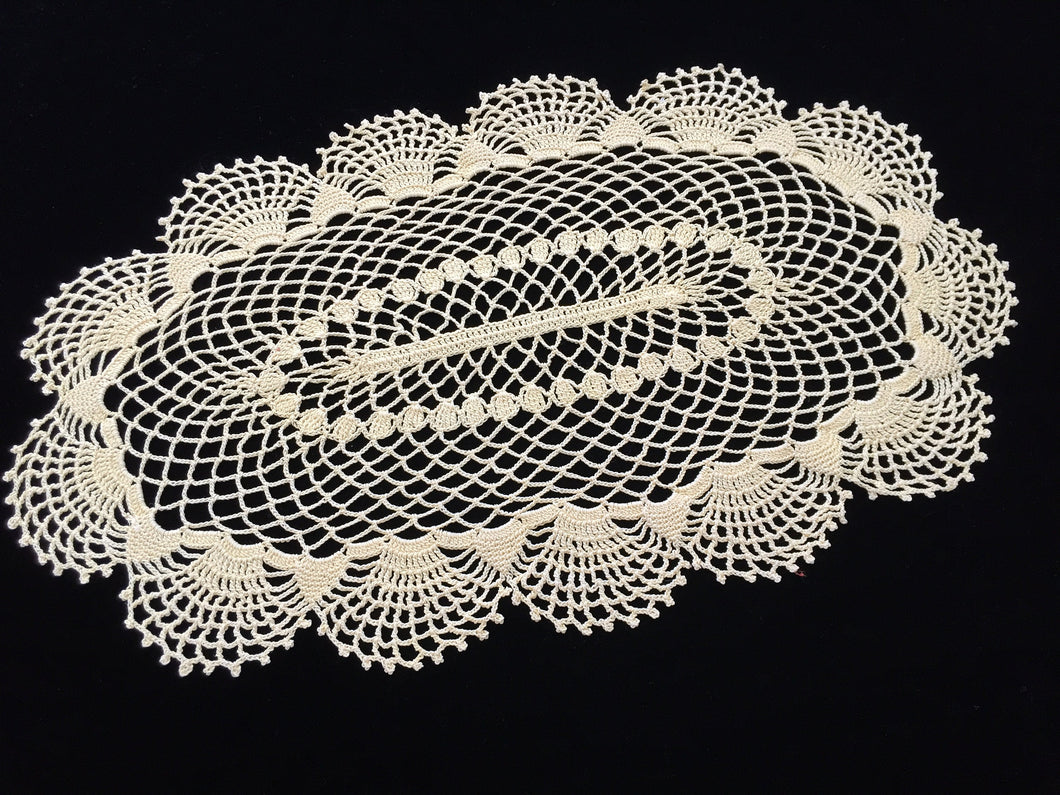 Large Oval Yellow Vintage Crocheted Cotton Lace Doily