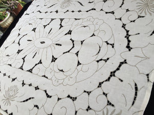 Embroidered Ivory/Ecru Cotton Linen Vintage Cutwork Tablecloth with Chrysanthemums