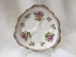 "Crown Ducal Violets 5"" Orphan Triple Espresso Saucer 30772 Pattern"