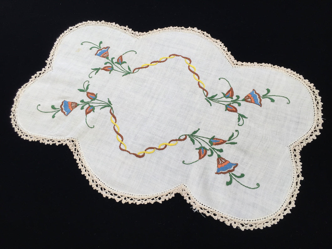 Large Vintage Oblong Embroidered Doily or Table Centre Mat with Ecru/Ivory Crocheted Edging