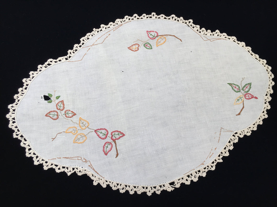 Large Vintage Oval Embroidered Doily for Craft with Leaf Pattern on Off-White Linen with Beige Crocheted Edging