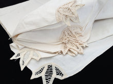 Load image into Gallery viewer, Unused Vintage Set of 12 Ivory Cotton Linen Party Napkins with Battenburg Lace Detail