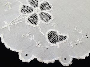 Antique Embroidered Irish Linen and Lace Large Oval Table Topper
