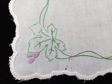 Load image into Gallery viewer, Antique Embroidered White Linen Doily with Grapevine Pattern and Hand Stitched Scalloped Hem
