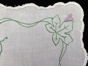 Antique Embroidered White Linen Doily with Grapevine Pattern and Hand Stitched Scalloped Hem