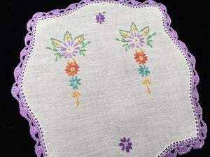 Vintage Damaged Hand Embroidered Linen Doily with a Crocheted Edge for Craft